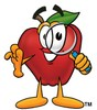 An apple and a magnifying glass clipart