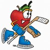 An apple playing hockey clipart
