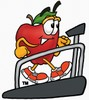 An apple walking on a treadmill clipart