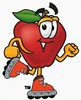 An apple on roller blades clipart