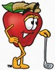 A golfing apple clipart