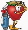 An apple with golf clubs clipart