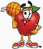 An apple playing with a basketball clipart