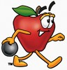 An apple throwing a bowling ball clipart