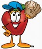 An apple wearing a ball glove and cap clipart