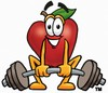 A weightlifting apple clipart