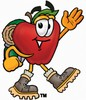 An apple in hiking boots clipart