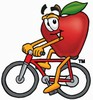 An apple riding a bike clipart
