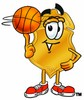 A basketball playing badge clipart