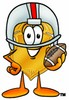 A badge in a helmet holding a football clipart