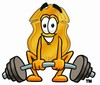 A badge lifting a barbell clipart