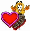 Clipart Illustrationo f a Badge With a Box of Chocolates