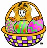 Badge Cartoon Character With Easter Eggs in a Basket clipart