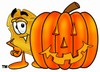 A badge with a carved pumpkin clipart