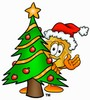 Clipart Illustration of a Badge Behding a Christmas Tree