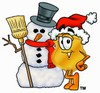 Clipart Illustration of a Badge and a Snowman
