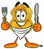 A badge with a knife and fork clipart