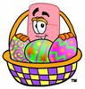 Bandaid Cartoon Character With Easter Eggs in a Basket clipart