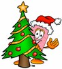 A bandaid standing behind a christmas tree clipart