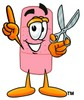 A bandaid holding scissors clipart