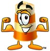 A barrel flexing biceps clipart