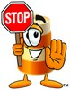 A barrel and a stop sign clipart