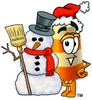 A barrel and snowman clipart