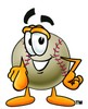 CLipart Illustration of a Baseball Pointing