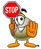 Stock Illustration of a Baseball Cartoon Character Holding a Stop Sign
