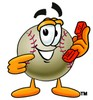 Clipart Illustration of a Baseball Pointing to a Telephone