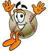 Clipart Illustration of a Jumping Baseball