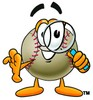 Clipart Illustration of a Baseball With a Magnifying Glass