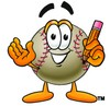Clipart Illustration of a Baseball Holding a Pencil