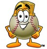 A baseball in a hardhat clipart