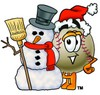 Clipart Illustration of a Baseball in a Santa Hat Beside a Snowman