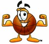 A basketball with its muscles flexed clipart