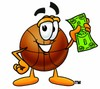 A basketball holding money clipart