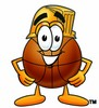 A basketball wearing a hardhat clipart