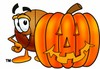 A basketball and carved pumpkin clipart