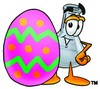 A beaker and coloured egg clipart