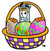 Beaker Cartoon Character With Easter Eggs in a Basket clipart