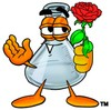 A beaker holding a rose clipart