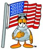 A beaker by an american flag clipart