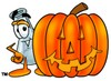 A beaker and carved pumpin clipart
