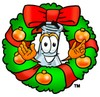 A beaker and christmas wreath clipart