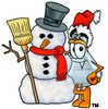 A beaker and snowman clipart
