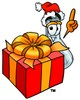 A beaker and christmas gift clipart