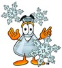 A beaker and snowflakes clipart