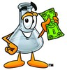 A beaker with a dollar bill clipart