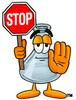 A beaker with a stop sign clipart